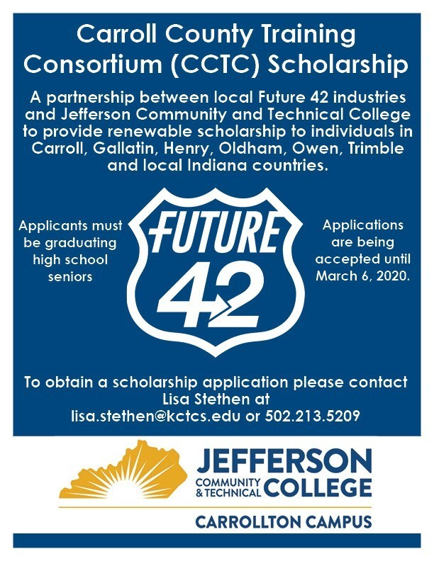 Future 42 Scholarship info. Please see Mr. Craig for an application