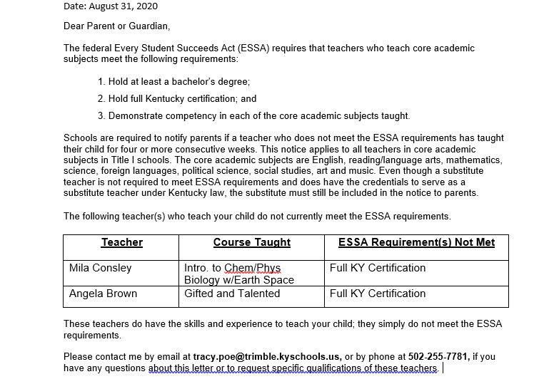 Annual ESSA Notification